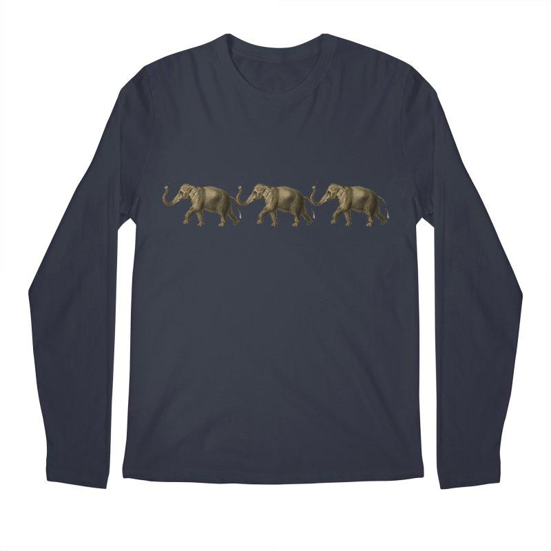 Elephants Marching Men's Longsleeve T-Shirt by Green Grackle Studio