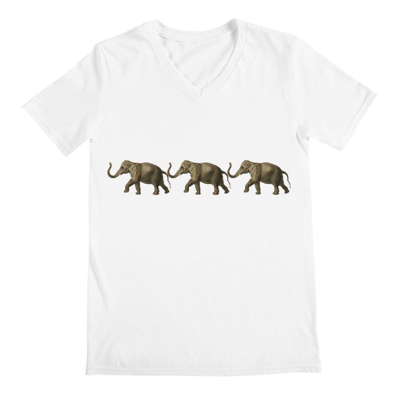 Elephants Marching Men's V-Neck by Green Grackle Studio