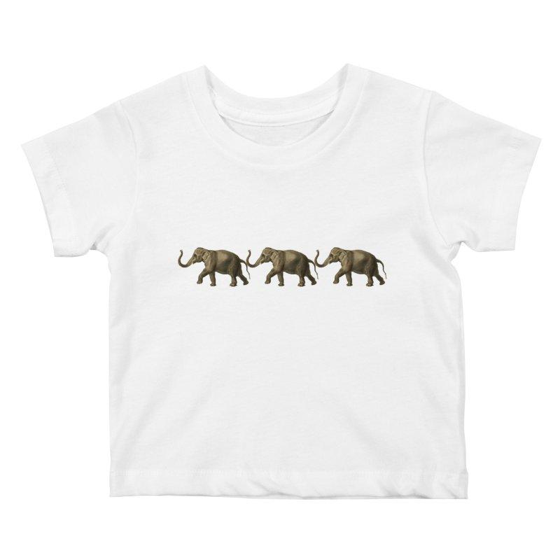 Elephants Marching Kids Baby T-Shirt by Green Grackle Studio