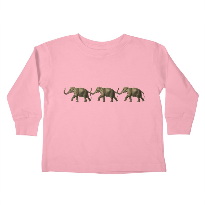 Elephants Marching Kids Toddler Longsleeve T-Shirt by Green Grackle Studio