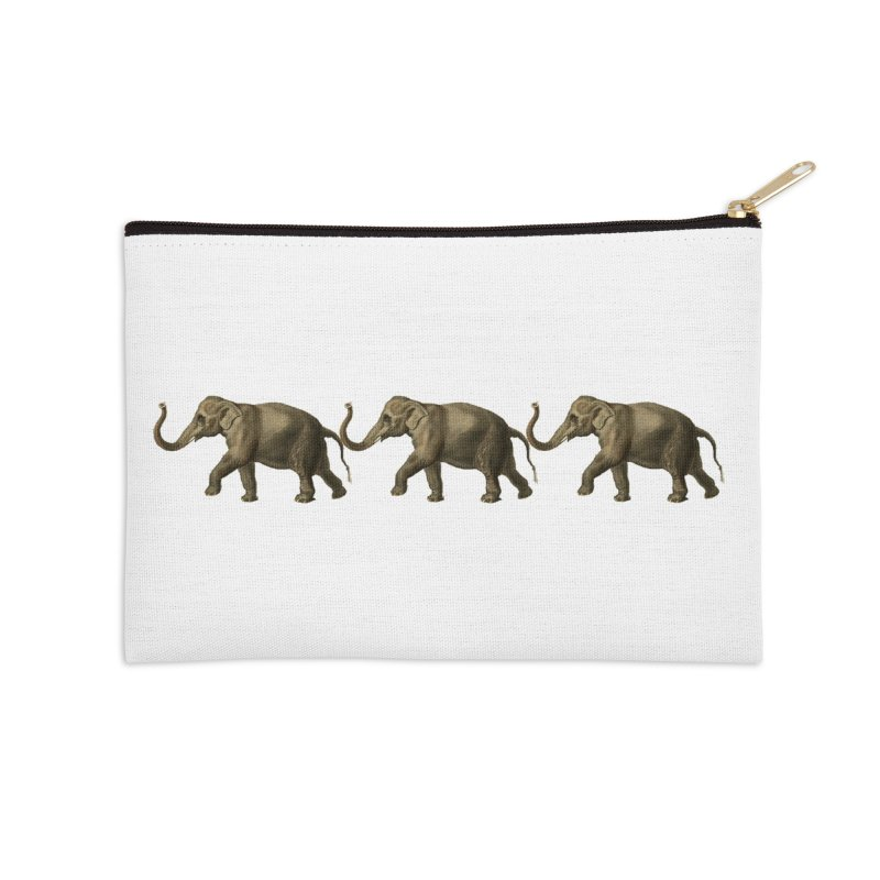 Elephants Marching Accessories Zip Pouch by Green Grackle Studio