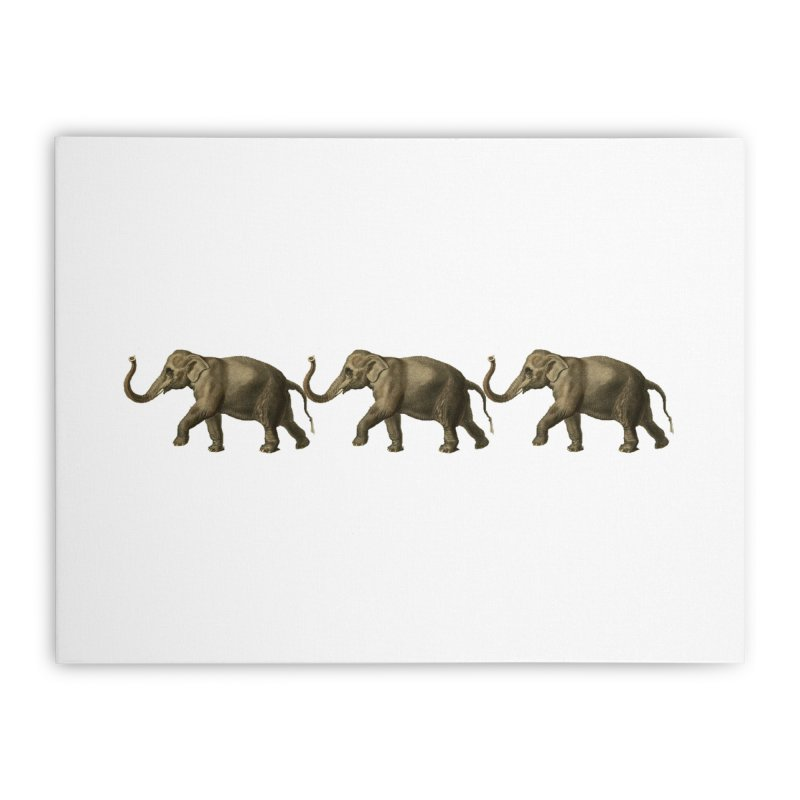 Elephants Marching Home Stretched Canvas by Green Grackle Studio
