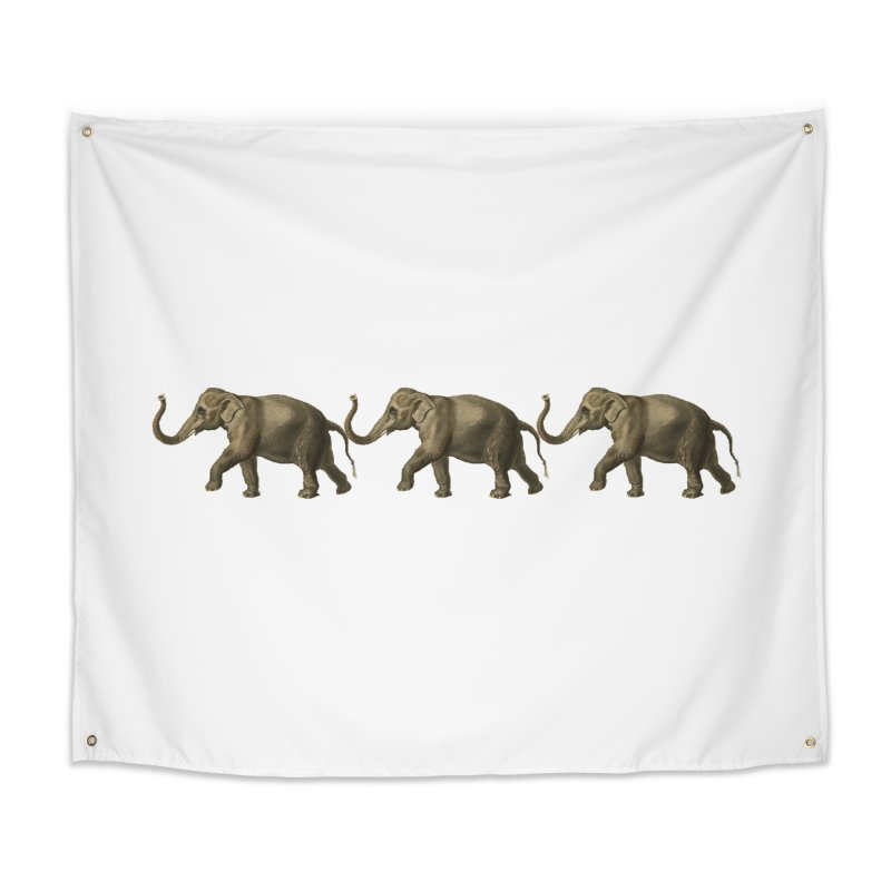 Elephants Marching Home Tapestry by Green Grackle Studio