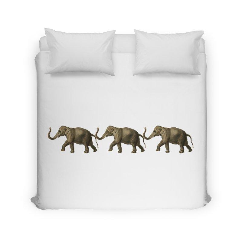 Elephants Marching Home Duvet by Green Grackle Studio