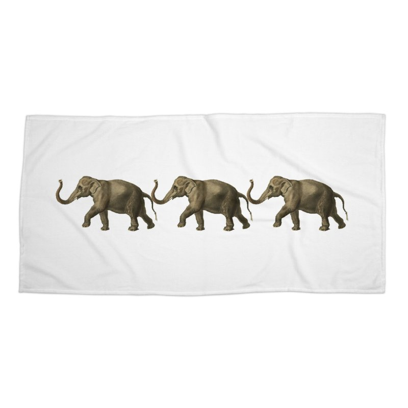 Elephants Marching Accessories Beach Towel by Green Grackle Studio