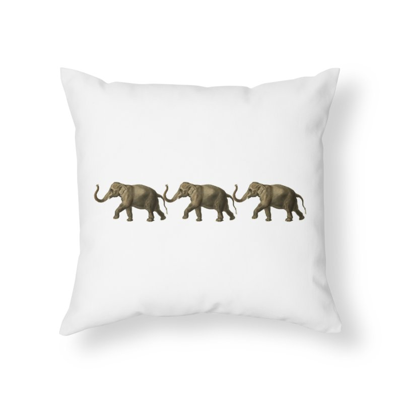 Elephants Marching Home Throw Pillow by Green Grackle Studio