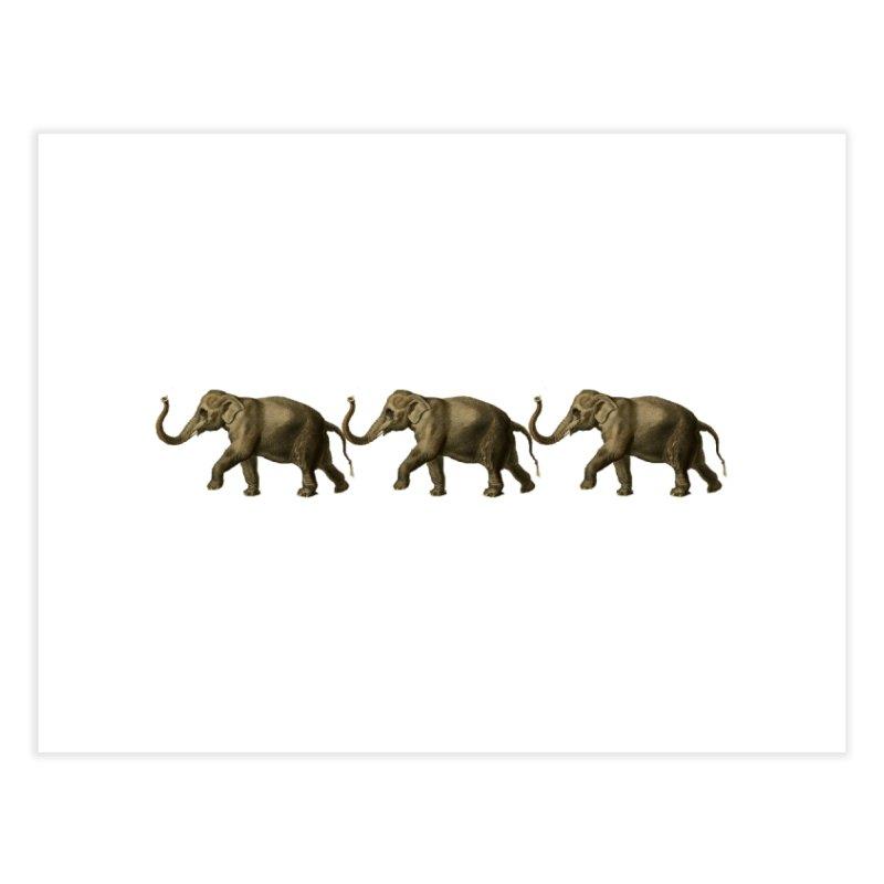 Elephants Marching Home Fine Art Print by Green Grackle Studio
