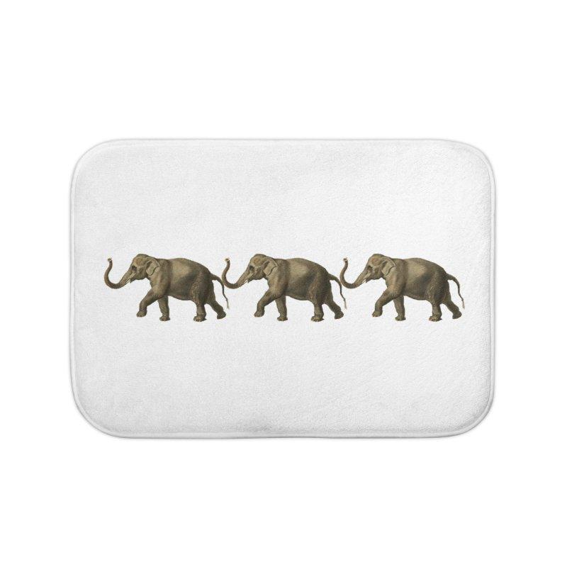 Elephants Marching Home Bath Mat by Green Grackle Studio