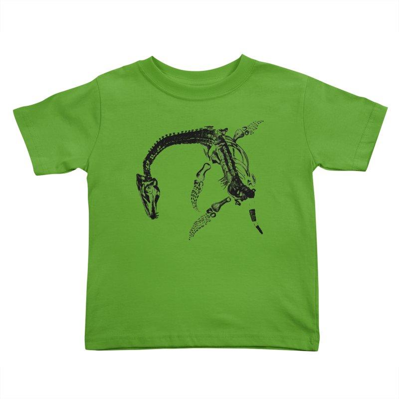 Plesiosaur Skeleton Kids Toddler T-Shirt by Green Grackle Studio