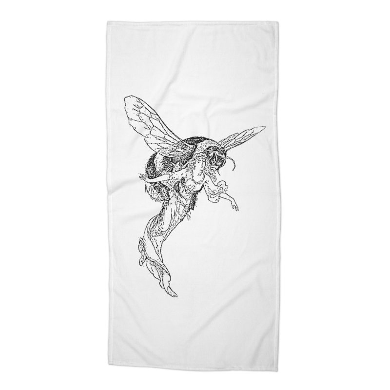 The Princess Carried Off By Bees Accessories Beach Towel by Green Grackle Studio