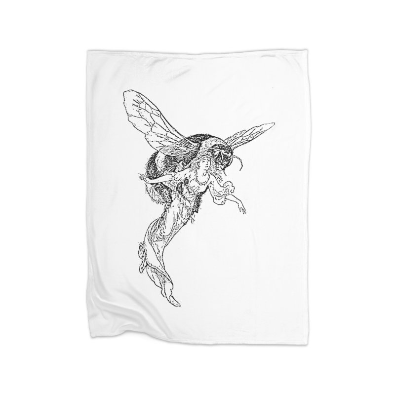 The Princess Carried Off By Bees Home Fleece Blanket Blanket by Green Grackle Studio