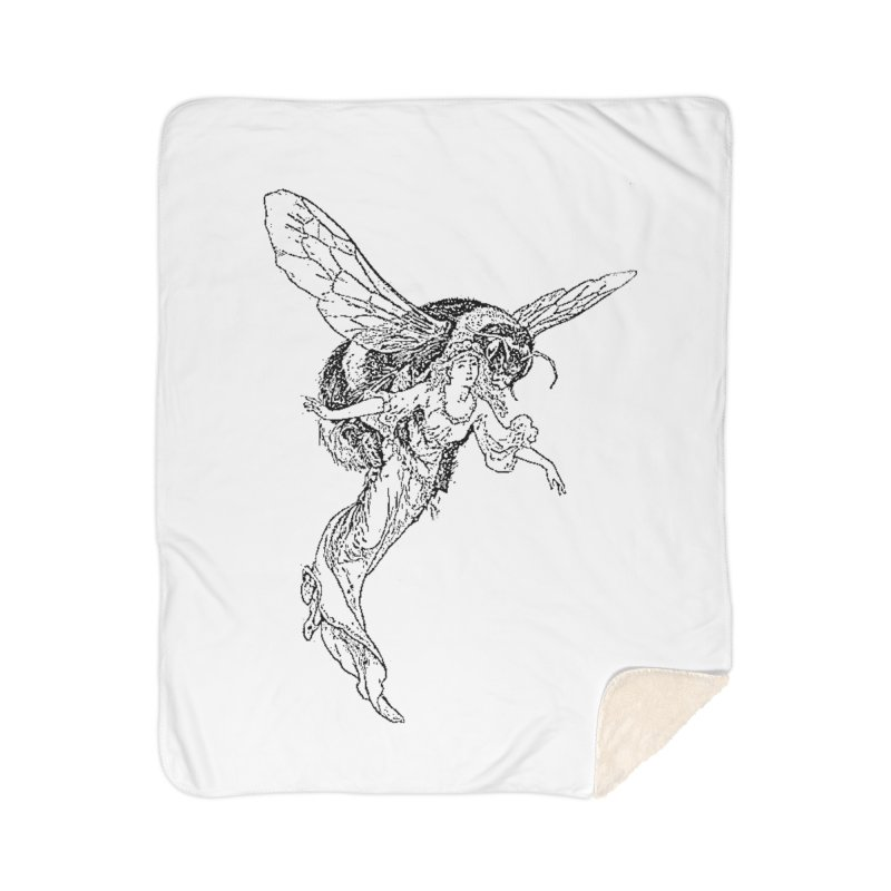 The Princess Carried Off By Bees Home Sherpa Blanket Blanket by Green Grackle Studio