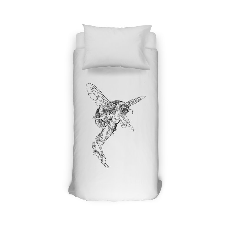 The Princess Carried Off By Bees Home Duvet by Green Grackle Studio