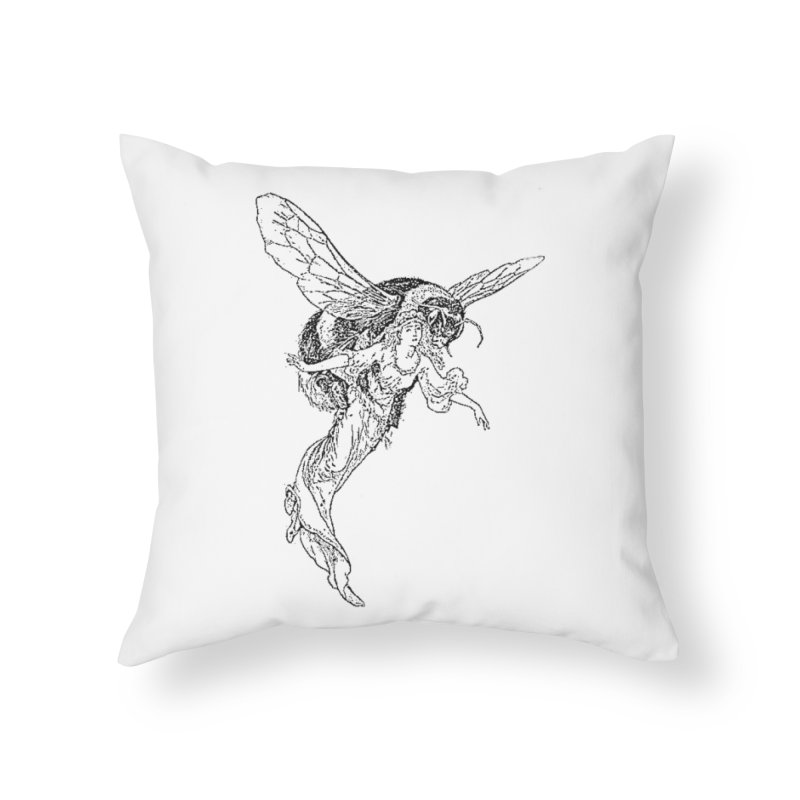 The Princess Carried Off By Bees Home Throw Pillow by Green Grackle Studio