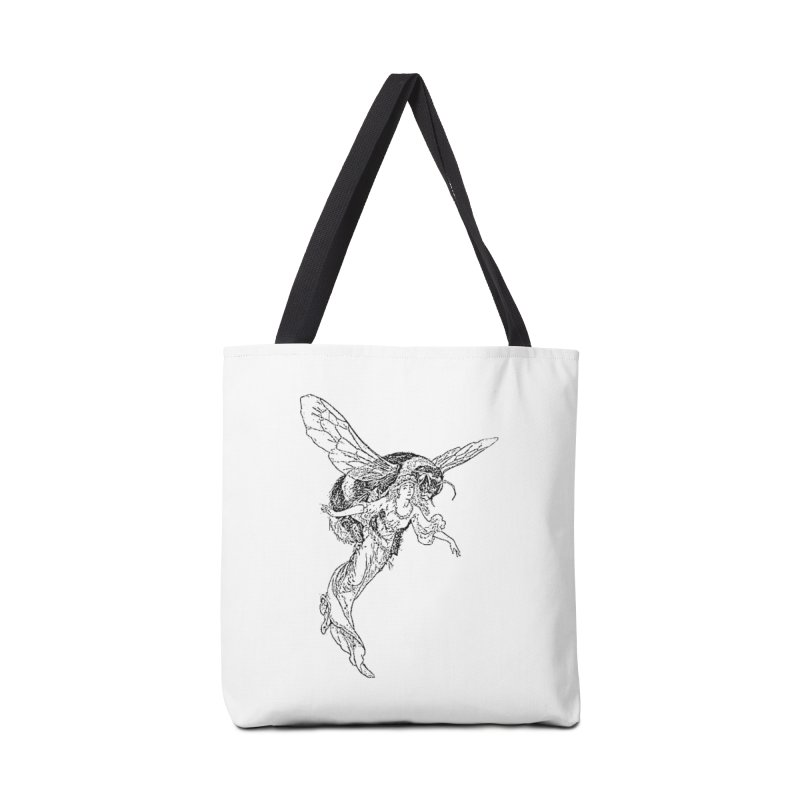The Princess Carried Off By Bees Accessories Tote Bag Bag by Green Grackle Studio