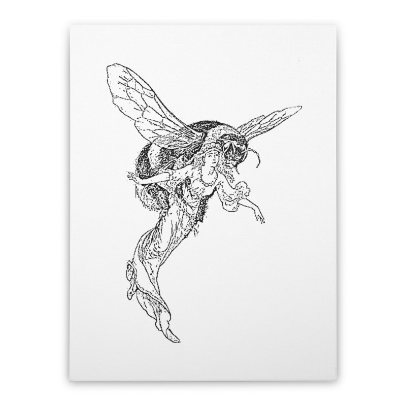 The Princess Carried Off By Bees Home Stretched Canvas by Green Grackle Studio