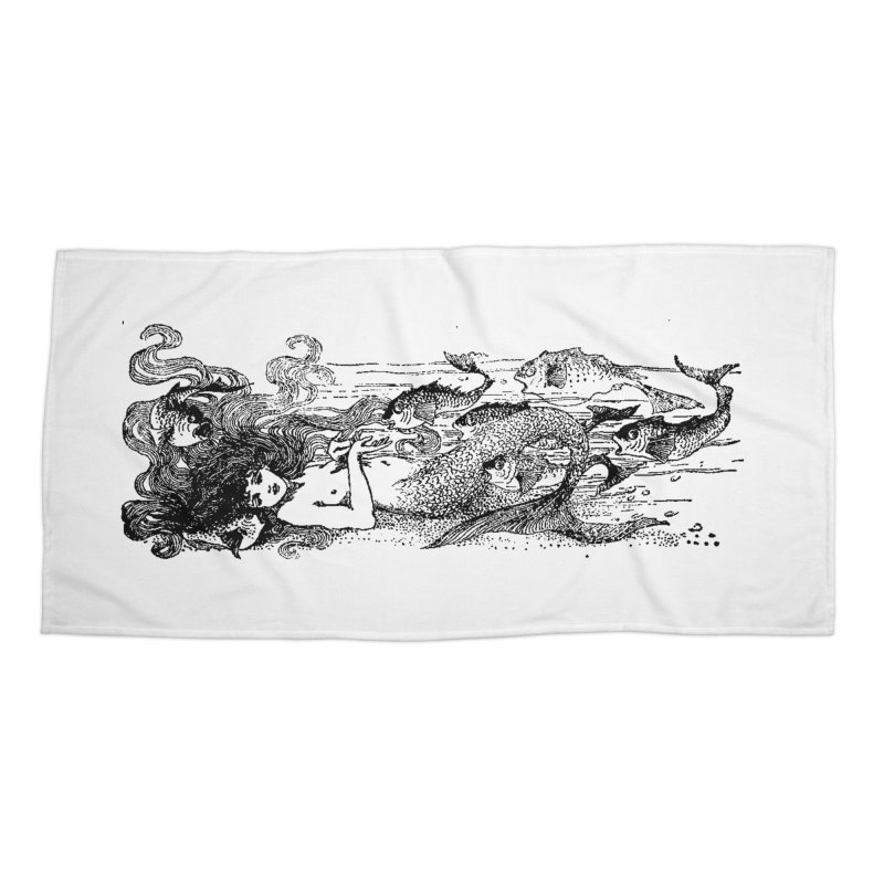 The Little Mermaid Accessories Beach Towel by Green Grackle Studio