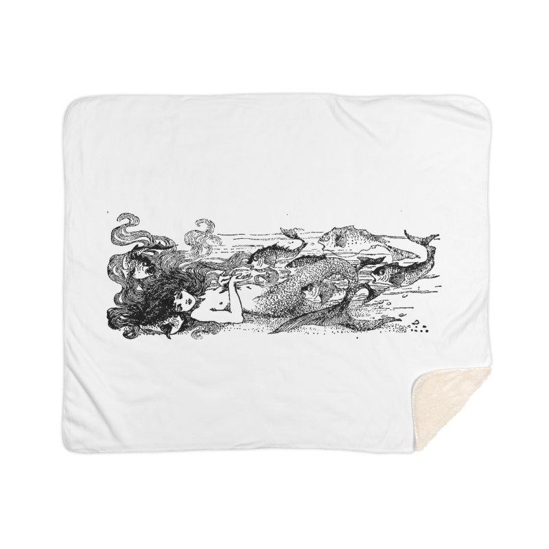 The Little Mermaid Home Sherpa Blanket Blanket by Green Grackle Studio