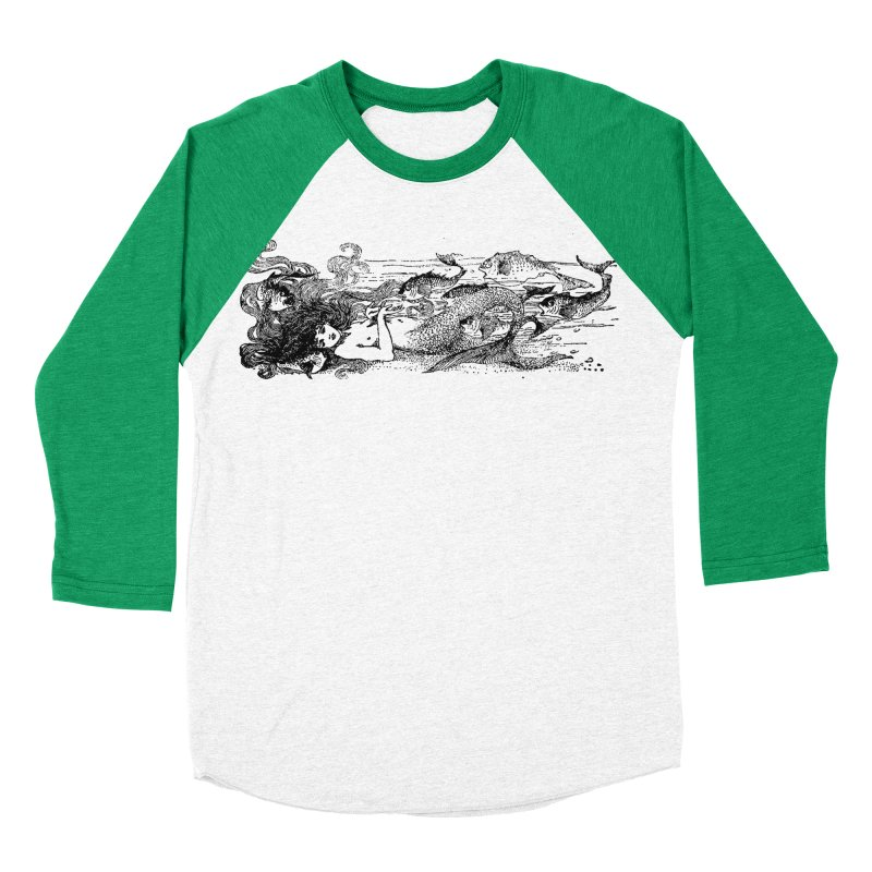 The Little Mermaid Men's Baseball Triblend Longsleeve T-Shirt by Green Grackle Studio