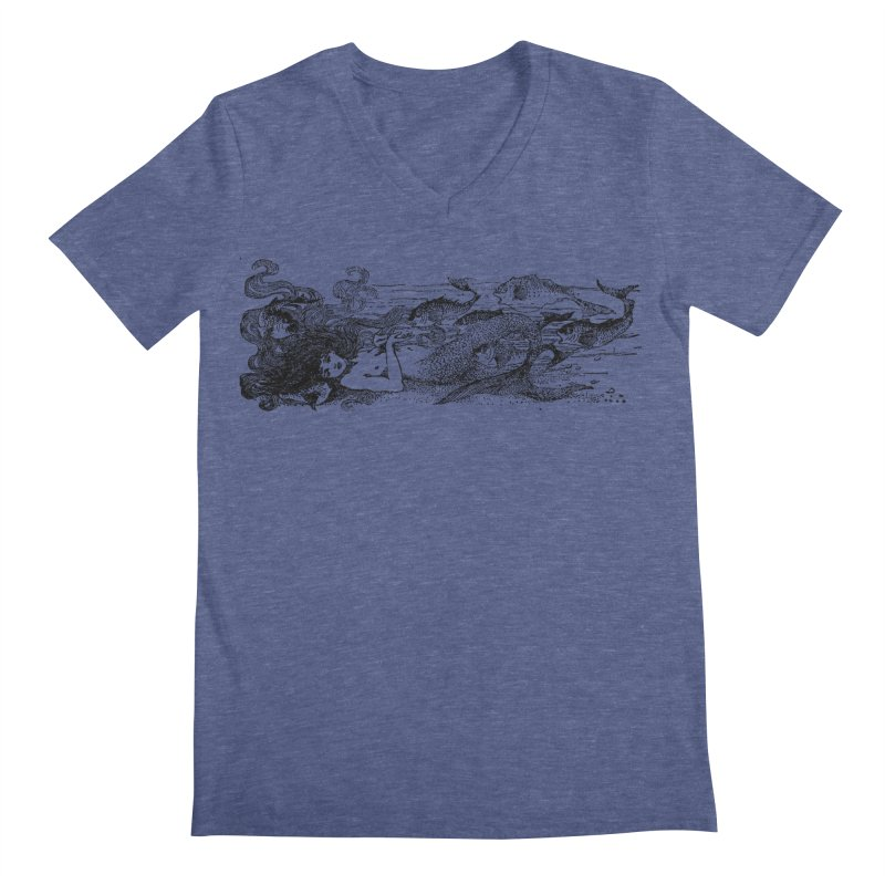 The Little Mermaid Men's Regular V-Neck by Green Grackle Studio