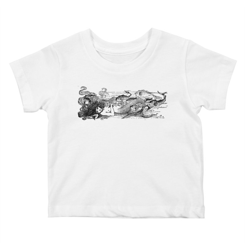 The Little Mermaid Kids Baby T-Shirt by Green Grackle Studio