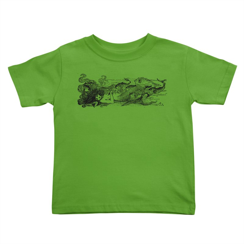 The Little Mermaid Kids Toddler T-Shirt by Green Grackle Studio