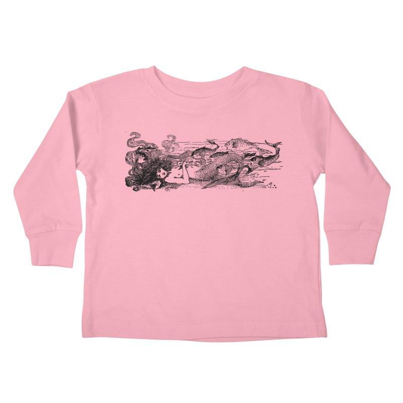 The Little Mermaid Kids Toddler Longsleeve T-Shirt by Green Grackle Studio