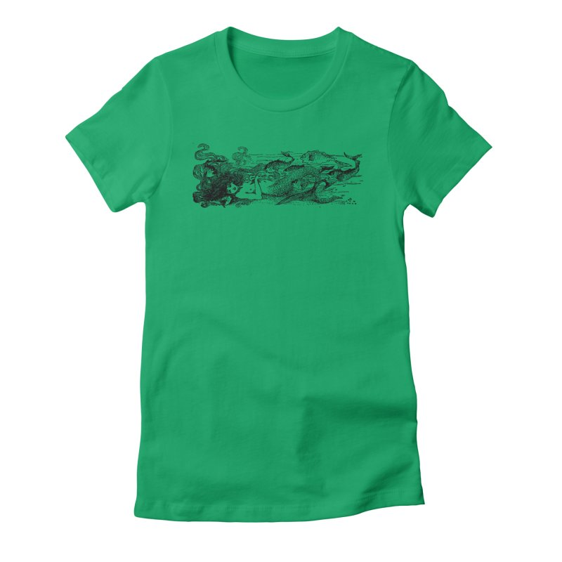 The Little Mermaid Women's Fitted T-Shirt by Green Grackle Studio