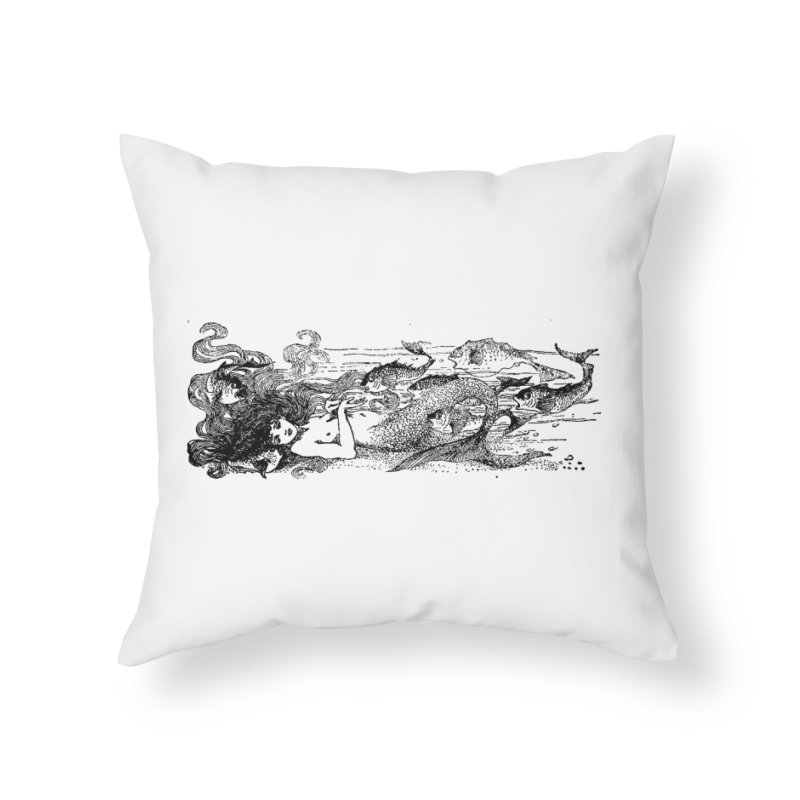 The Little Mermaid Home Throw Pillow by Green Grackle Studio