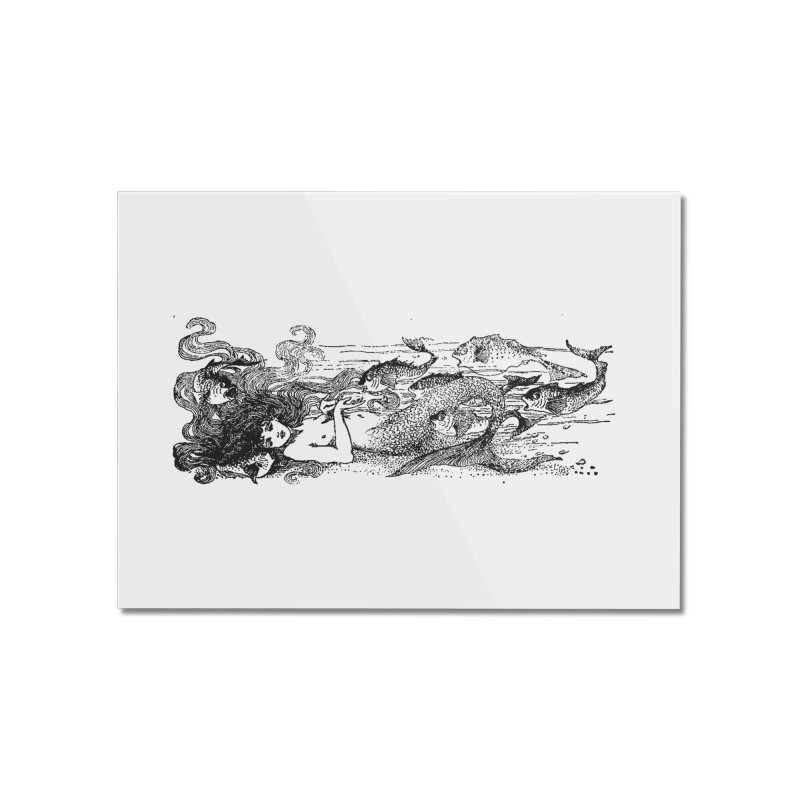 The Little Mermaid Home Mounted Acrylic Print by Green Grackle Studio
