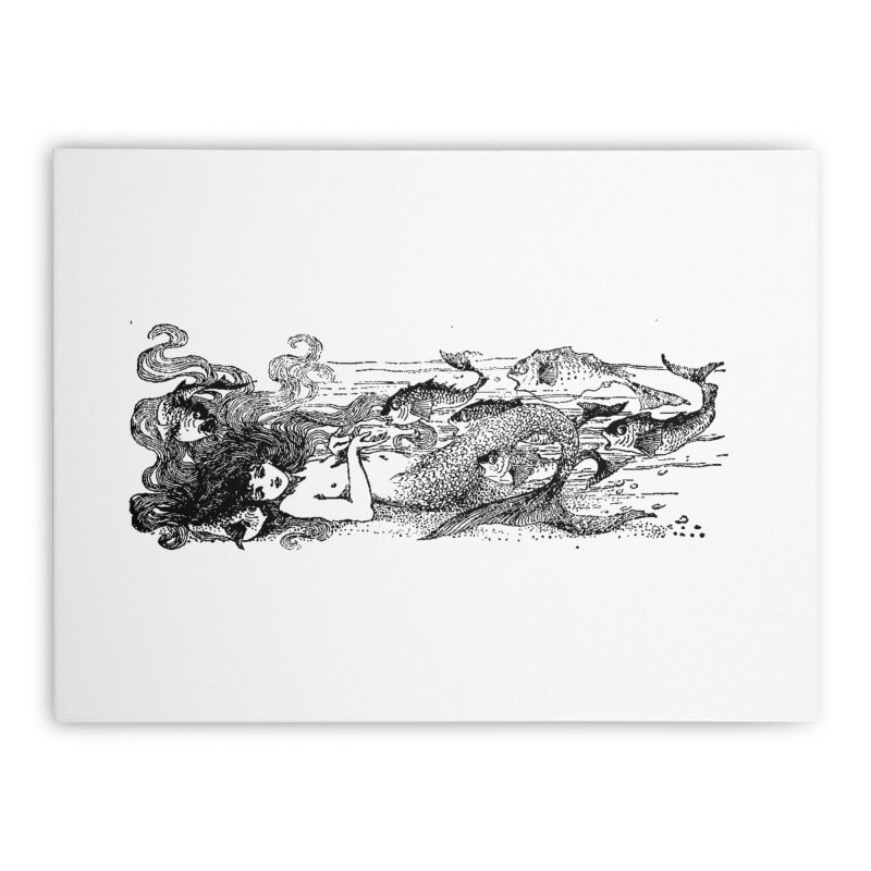 The Little Mermaid Home Stretched Canvas by Green Grackle Studio
