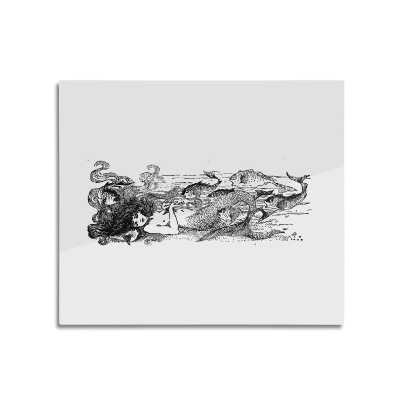The Little Mermaid Home Mounted Aluminum Print by Green Grackle Studio