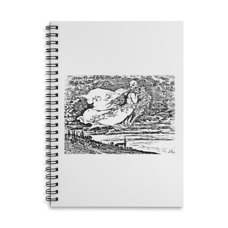 Death and the Maiden Accessories Lined Spiral Notebook by Green Grackle Studio
