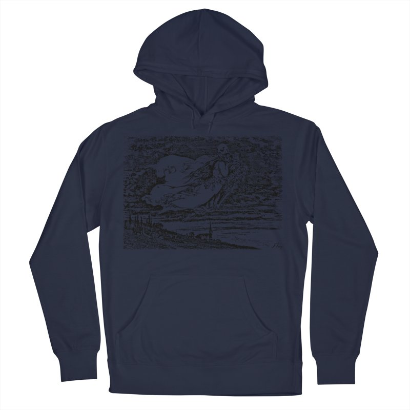 Death and the Maiden Men's French Terry Pullover Hoody by Green Grackle Studio