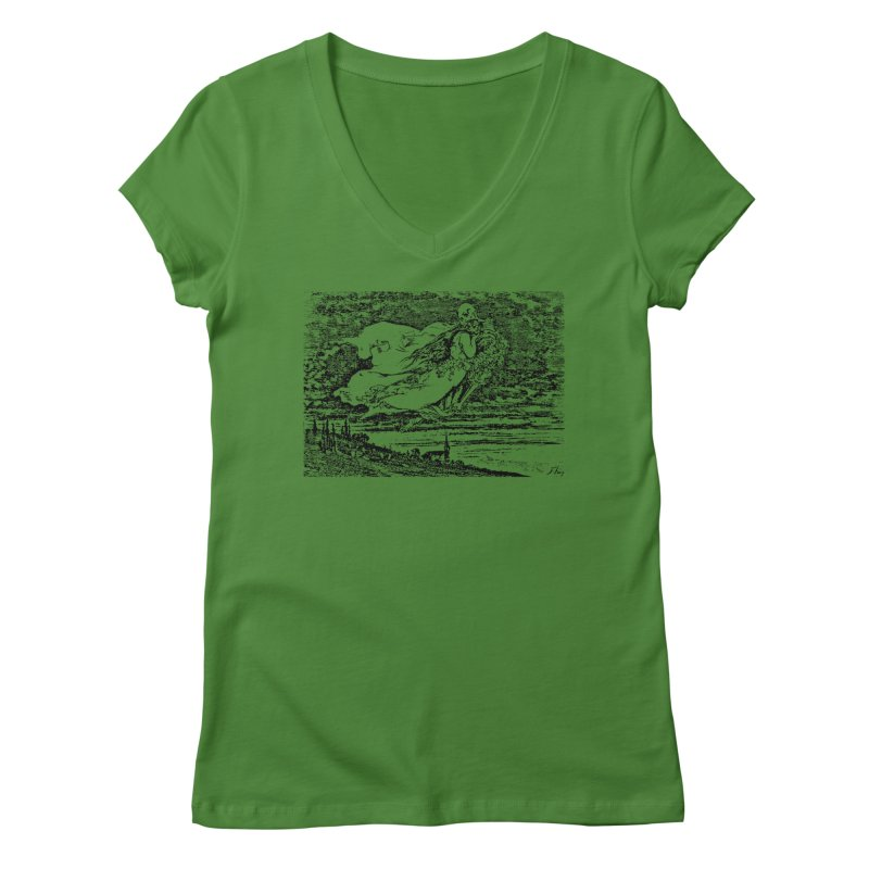 Death and the Maiden Women's Regular V-Neck by Green Grackle Studio