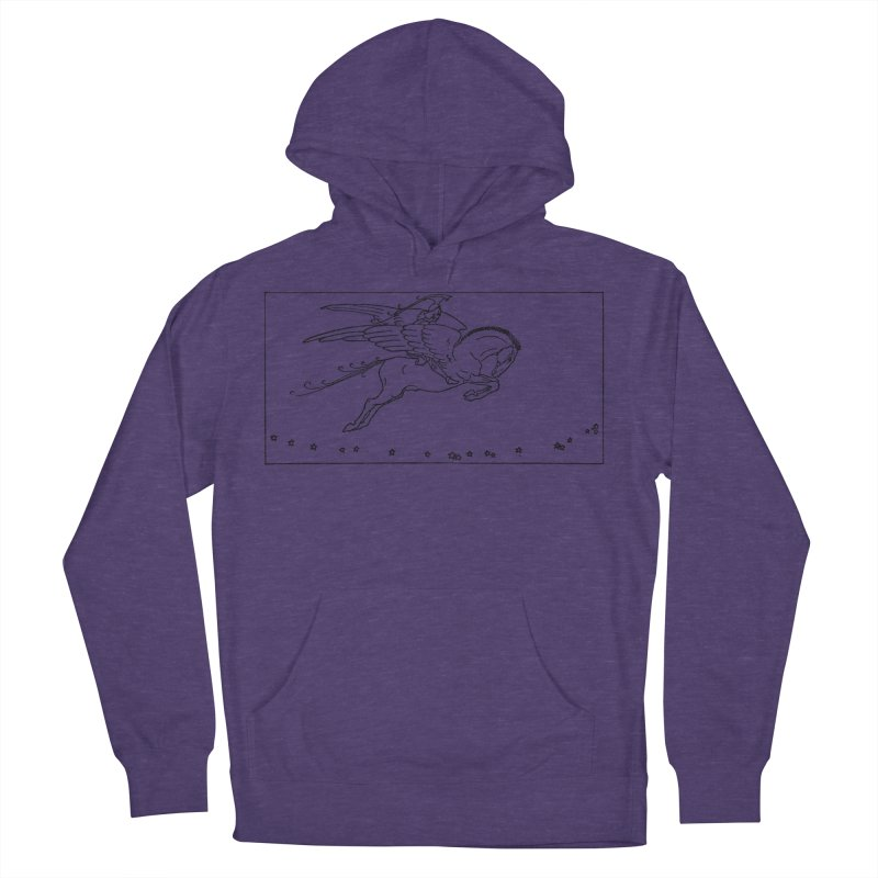 Perseus Riding Pegasus Women's French Terry Pullover Hoody by Green Grackle Studio