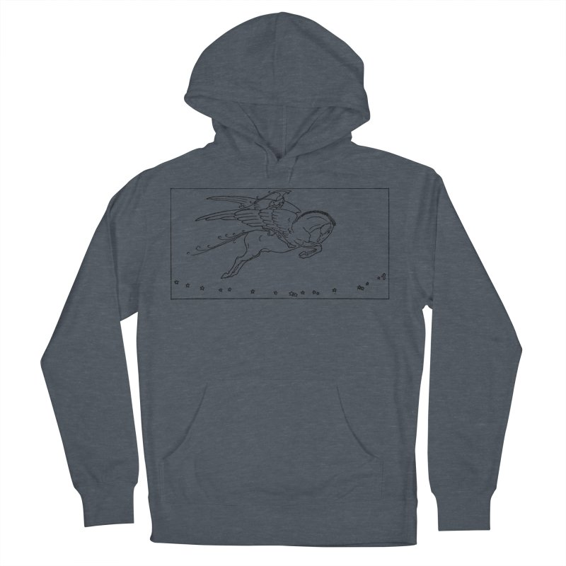 Perseus Riding Pegasus Men's French Terry Pullover Hoody by Green Grackle Studio