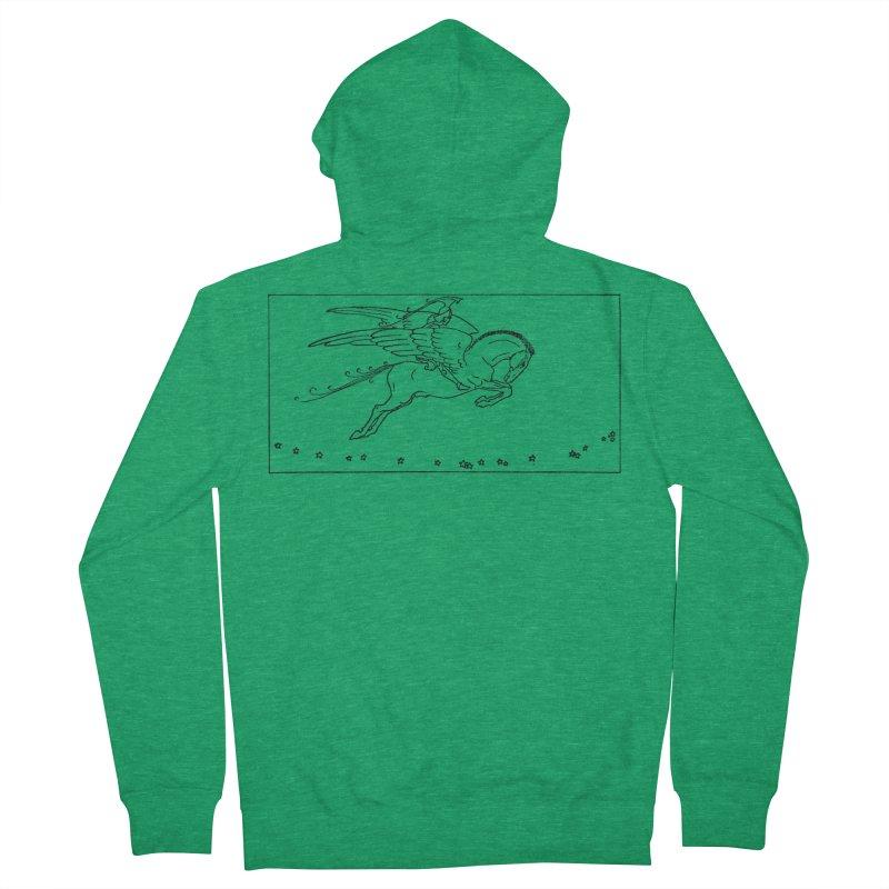 Perseus Riding Pegasus Women's Zip-Up Hoody by Green Grackle Studio