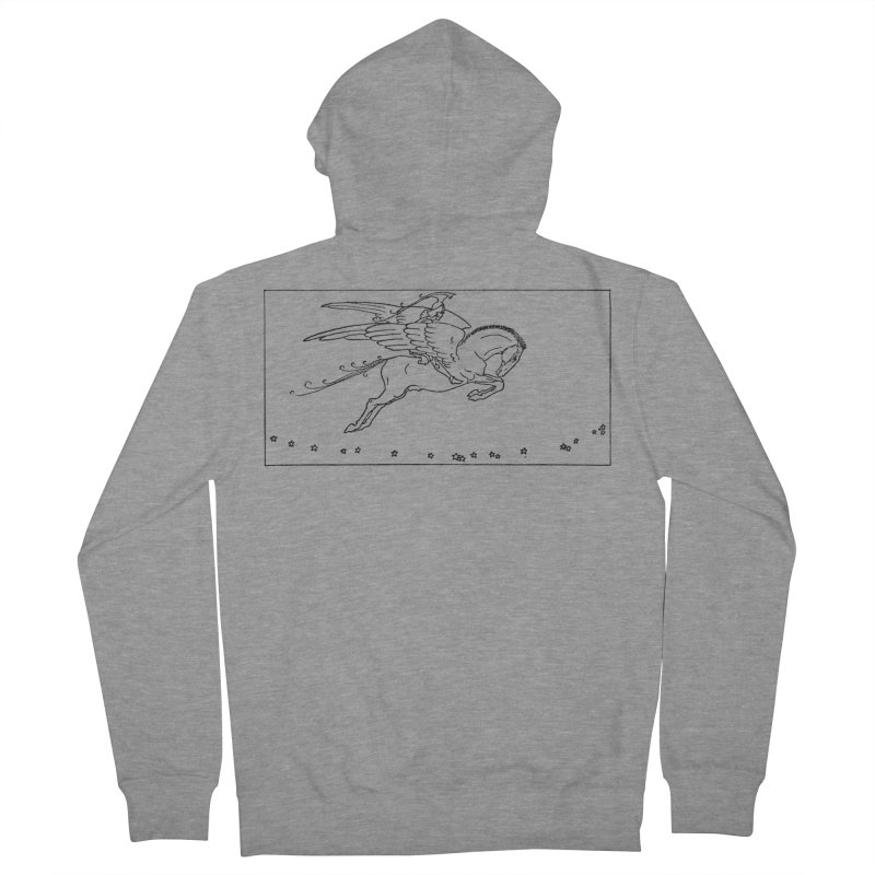 Perseus Riding Pegasus Women's French Terry Zip-Up Hoody by Green Grackle Studio
