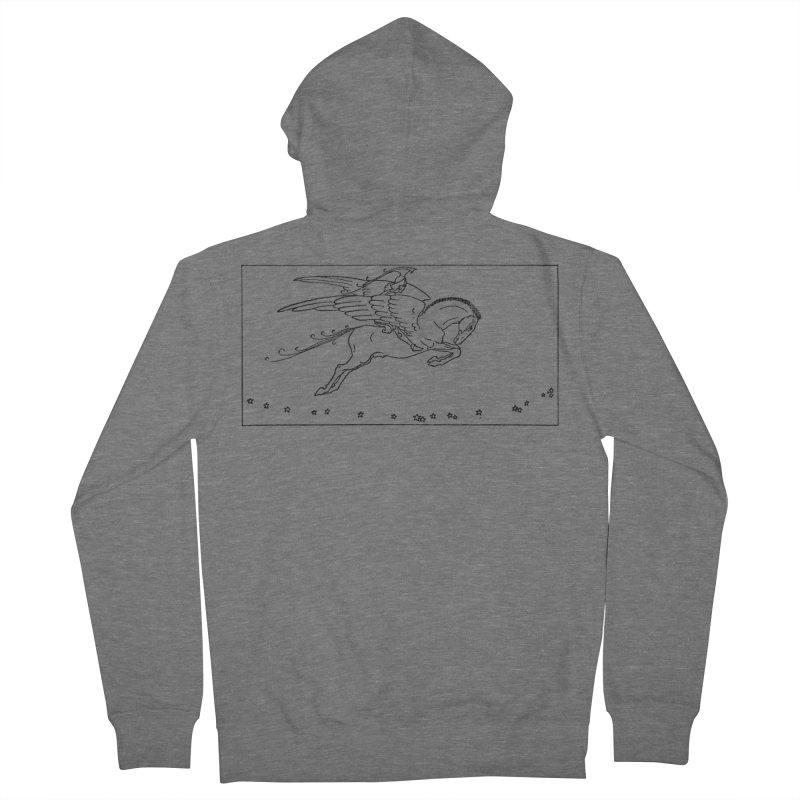 Perseus Riding Pegasus Men's Zip-Up Hoody by Green Grackle Studio