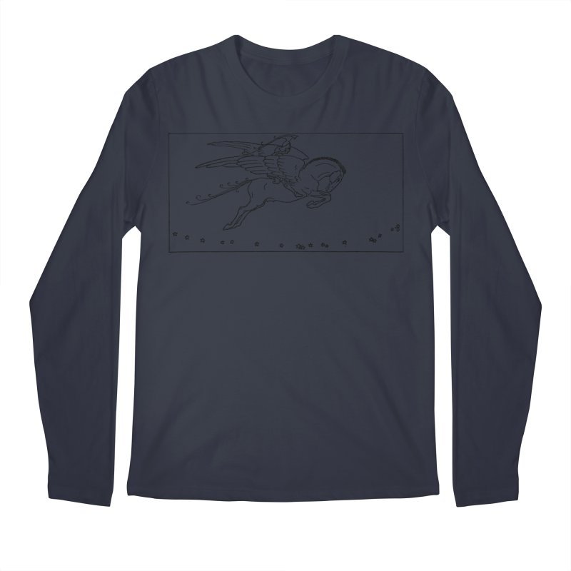 Perseus Riding Pegasus Men's Regular Longsleeve T-Shirt by Green Grackle Studio