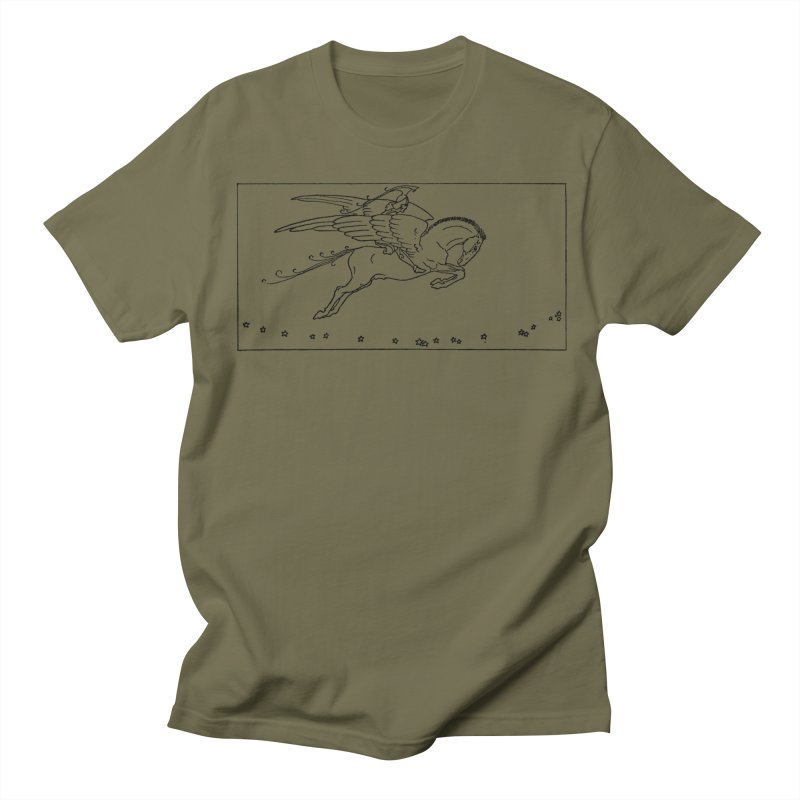 Perseus Riding Pegasus Men's T-Shirt by Green Grackle Studio