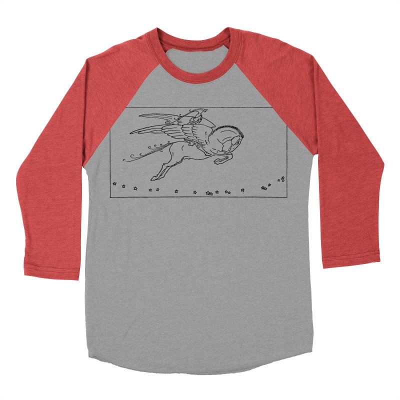 Perseus Riding Pegasus Women's Baseball Triblend Longsleeve T-Shirt by Green Grackle Studio