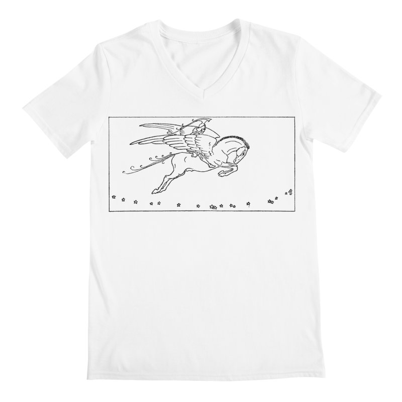 Perseus Riding Pegasus Men's V-Neck by Green Grackle Studio