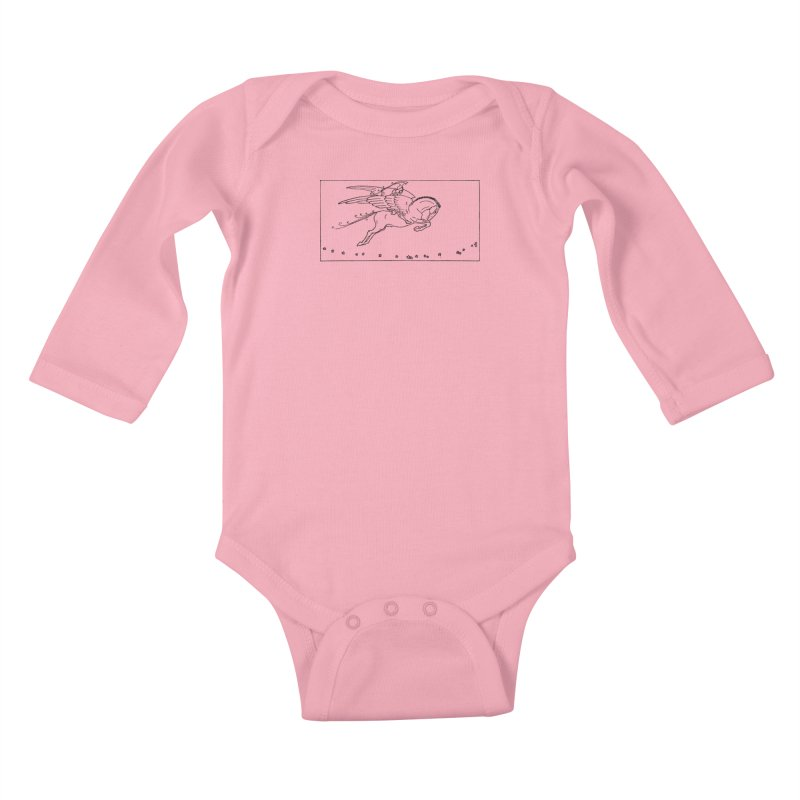 Perseus Riding Pegasus Kids Baby Longsleeve Bodysuit by Green Grackle Studio