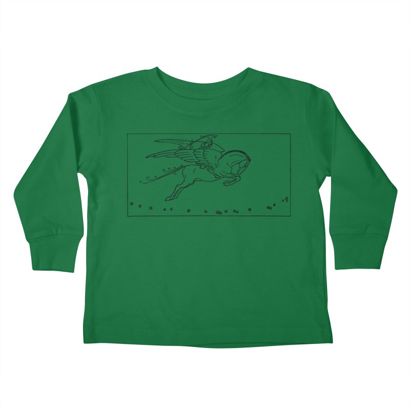 Perseus Riding Pegasus Kids Toddler Longsleeve T-Shirt by Green Grackle Studio