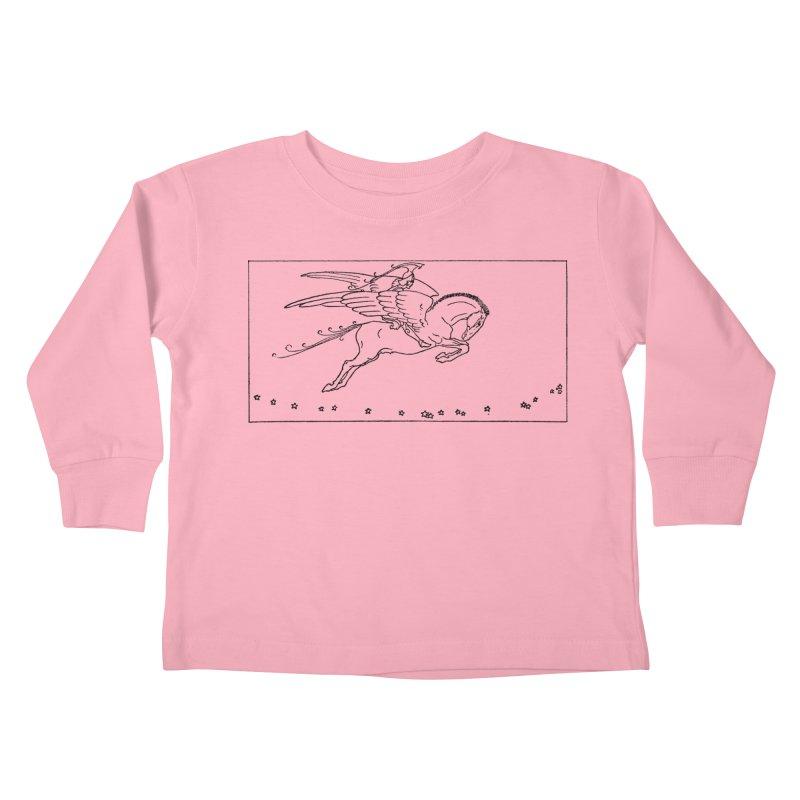 Perseus Riding Pegasus Kids Toddler Longsleeve T-Shirt by Green Grackle Studio