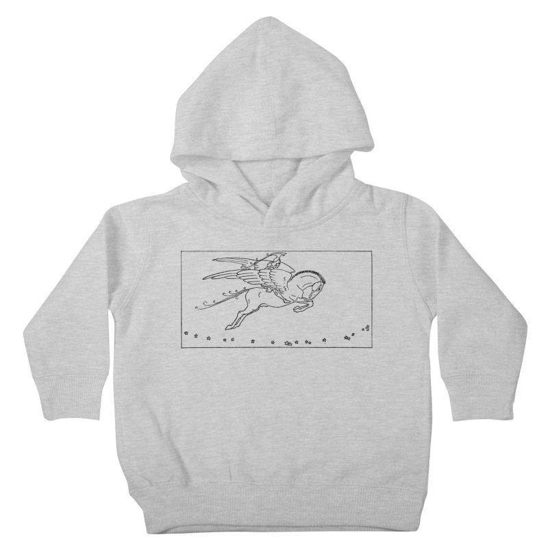 Perseus Riding Pegasus Kids Toddler Pullover Hoody by Green Grackle Studio