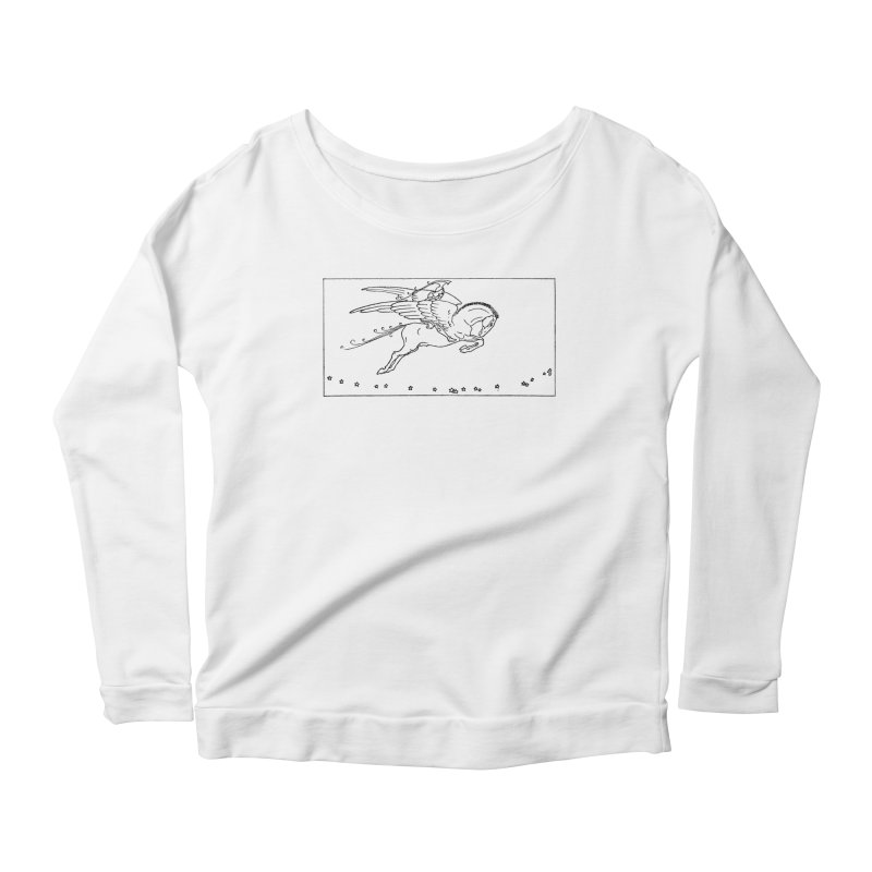 Perseus Riding Pegasus Women's Scoop Neck Longsleeve T-Shirt by Green Grackle Studio