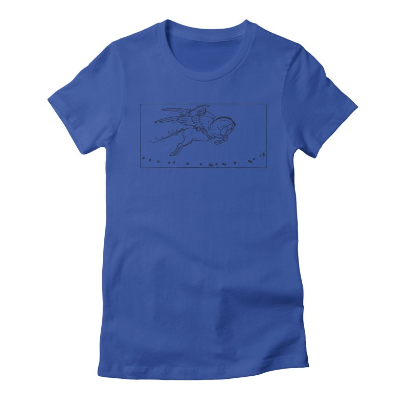 Perseus Riding Pegasus Women's Fitted T-Shirt by Green Grackle Studio